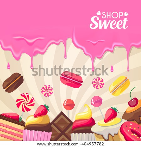 Sweet dessert food frame isolated on swirl background. Vector illustration for culinary design. Holiday birthday candy. Colorful delicious collection. Macaroon, berry, donut, cookies wallpaper.