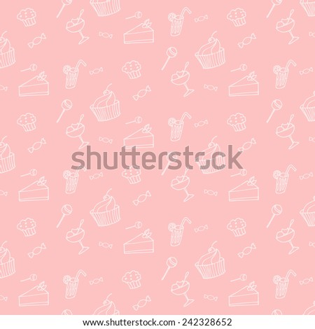 sweet dessert seamless texture on a pink background hand drawing - stock vector