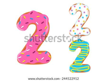 Sweet donut font vector. Number 2 - stock vector