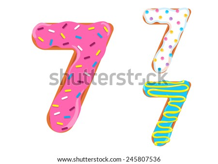 Sweet donut font vector.Number 7 - stock vector
