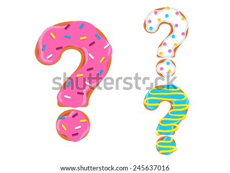 Sweet donut font vector. question mark - stock vector