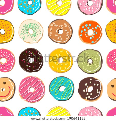 sweet donuts vector pattern - stock vector