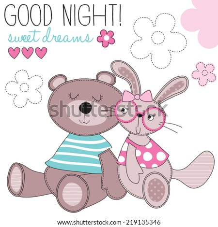 sweet dreams bunny and bear vector illustration - stock vector