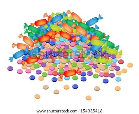 Sweet Food, A Heap of Chocolate Candies and Wrapped Hard Candies Isolated on A White Background  - stock vector