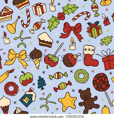 Sweet food and Christmas symbols vector seamless pattern