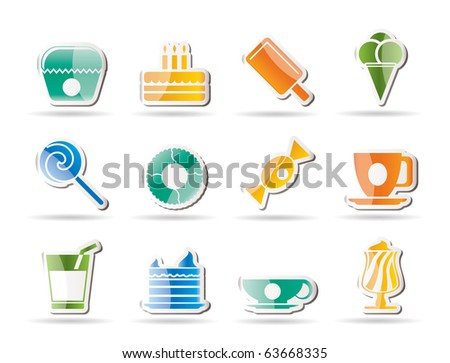 Sweet food and confectionery icons - vector icon set - stock vector