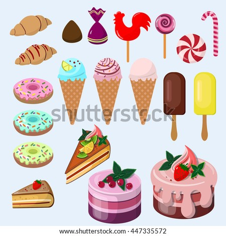 Sweet food set with cake, ice cream, candy, lollipop,  donut, baking, croissant isolated vector illustration