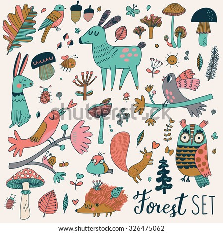 Sweet forest set with lovely wild animals : rabbit, deer, hedgehog, squirrel, owl and birds. Stylish natural background with birds and animals in trees, mushrooms, leafs and insects in bright colors - stock vector
