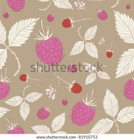 sweet fresh raspberries seamless background - stock vector