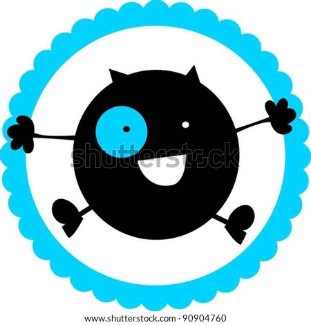 sweet funny boy monster - stock vector
