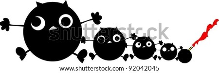 sweet funny four monsters with bomb - stock vector