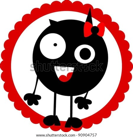 sweet funny girl monster with bow - stock vector