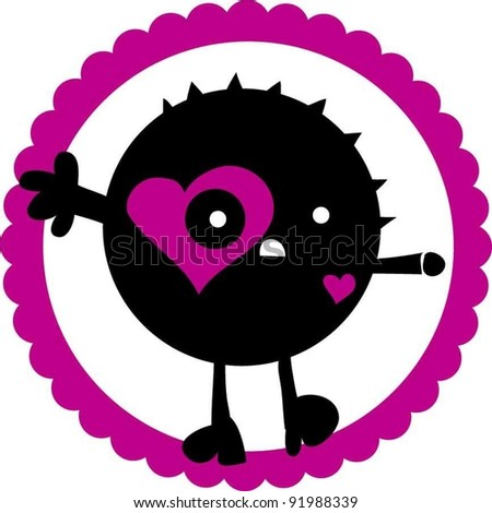 sweet funny love heart monster - stock vector