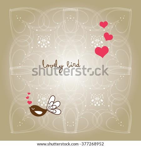 sweet garden lovely bird design - stock vector