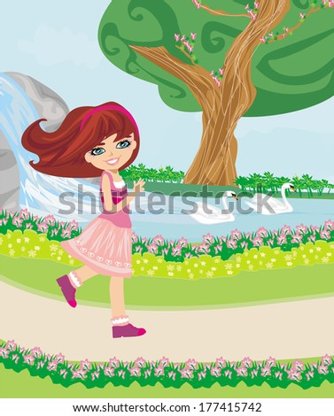 sweet girl in the park - stock vector
