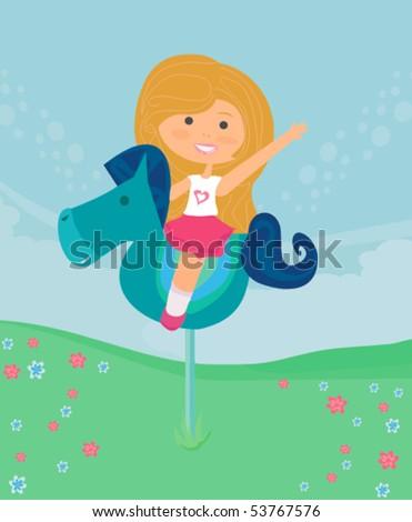 sweet girl Play - stock vector