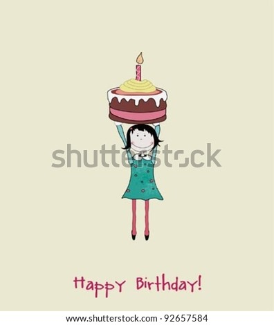 sweet girl with birthday cake - stock vector