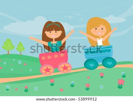 sweet girls Play - stock vector
