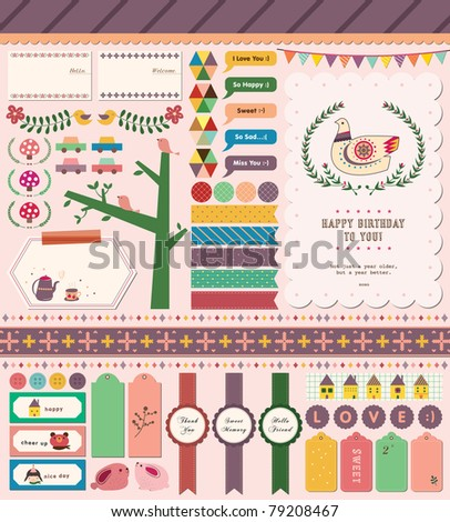 Sweet Girly Design. A Lot of Scrapbook Elements. Perfect for Scrapbook, Sticker, Photo, Party, Card. Vector Illustration.