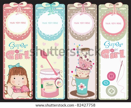 Sweet Girly Design. Perfect for Scrapbook, Sticker, Photo,Card - stock vector