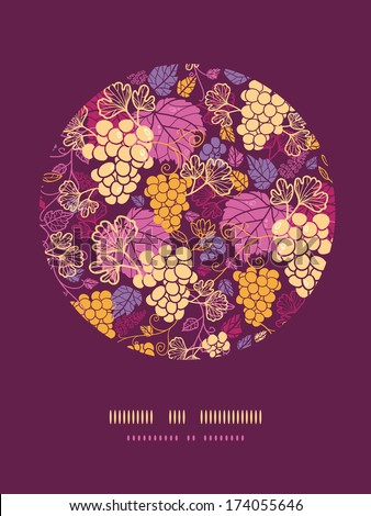 Sweet grape vines circle decor pattern background - stock vector