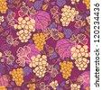 Sweet grape vines seamless pattern background - stock vector