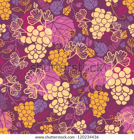 Sweet grape vines seamless pattern background - stock vector