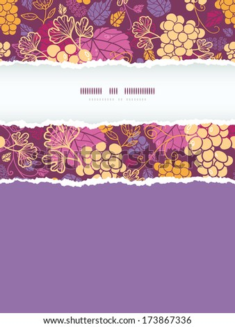 Sweet grape vines vertical torn frame seamless pattern background - stock vector