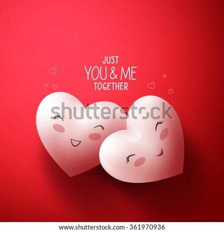 Sweet Hearts of Happy Lovers for Happy Valentines Day Greetings in Red Background with You and Me Together Title. Vector Illustration  - stock vector
