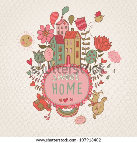 Sweet Home background with cote dog and flowers. vector illustration - stock vector