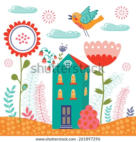 Sweet home colorful illustration with little house and flowers - stock vector