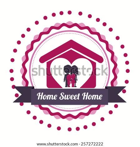sweet home design over white background, vector illustration. - stock vector