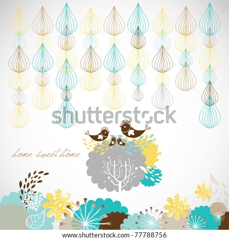 sweet home sweet home card design - stock vector