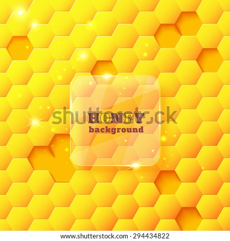 Sweet honeycomb yellow and shiny background with glittering lights and a glass banner. Abstract geometric vector illustration for your design - stock vector