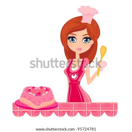 sweet Housewife cooking - stock vector