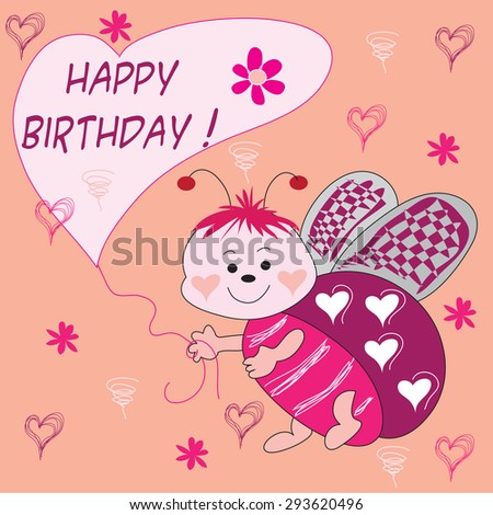 sweet ladybird with flowers and hearts and happy birthday balloon vector illustration - stock vector