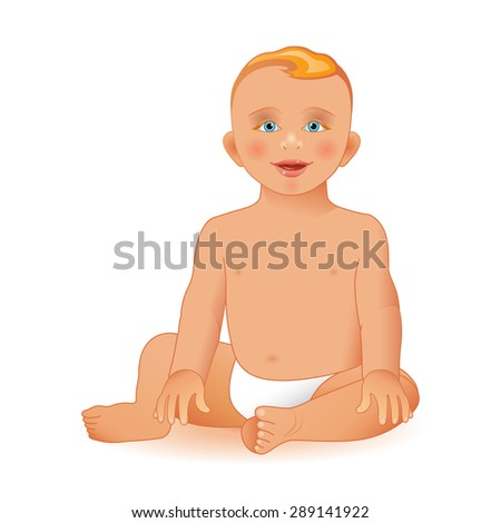 Sweet little boy sitting and smiling, isolated on white background. Vector illustration. Realistic image - stock vector