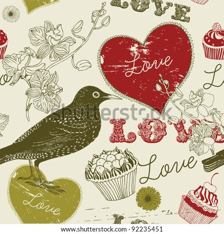 sweet  love bird card - stock vector