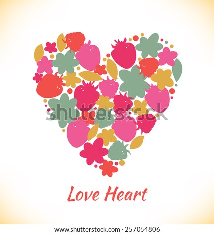 Sweet love. Template with berries and heart for greeting cards, wedding cards, gifts. Vector design elements - stock vector
