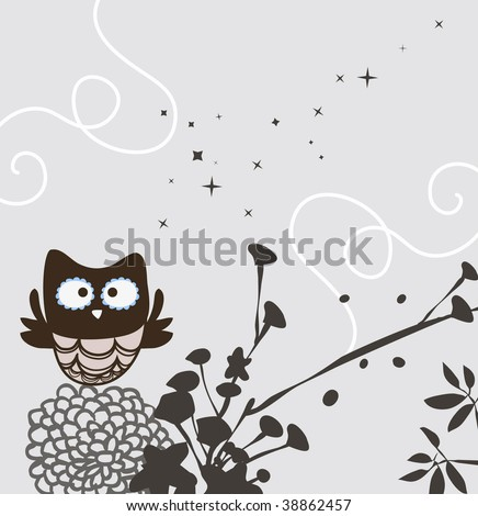 sweet owl and floral design