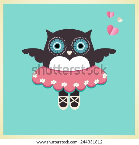 Sweet owl in Ballet slippers tutu and hearts  - stock vector