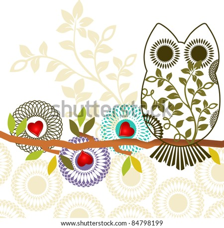 Sweet owl sitting on branch - three different unique flowers - layered - stock vector