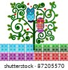 Sweet owls in a funky tree - stock vector
