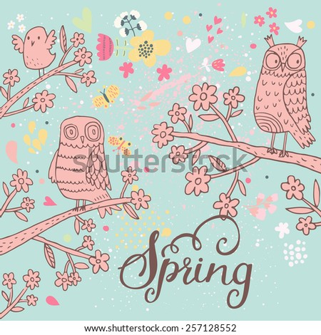 Sweet owls on branch in flowers. Spring concept background. Bright illustration, can be used as invitation card. Vector summer wallpaper
