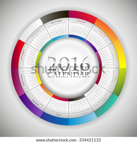Sweet Paper Calendar 2016 in Circle composition. Original Template with rainbow colors elements - stock vector