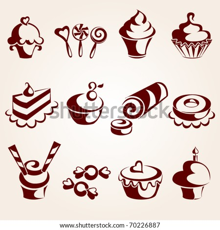 Sweet pastry set - stock vector