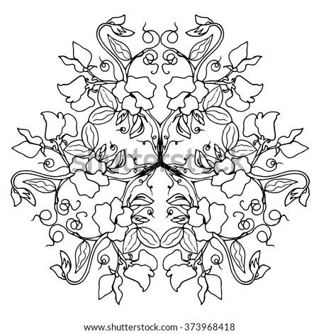 Sweet Pea Flower Arrangement Mandala