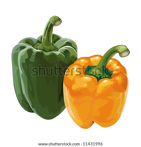 sweet pepper, paprika - stock vector