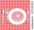 Sweet pink donut. Isolated vector illustration - stock vector