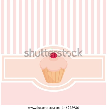Sweet pink vector card or invitation with muffin cupcake, cherry and pink strips. Vintage document template, menu card, wedding or baby shower invitation, bakery shop sign with candy symbol  - stock vector